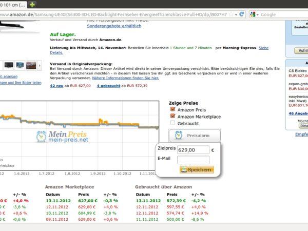 Mein Preis - Amazon Preisverlauf - Firefox Plugin