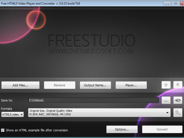 Free HTML5 Video Player and Converter 5.0.21.1201