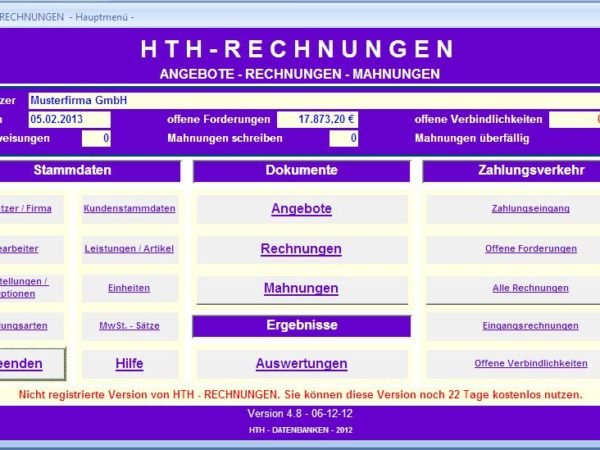 HTH -Rechnungen