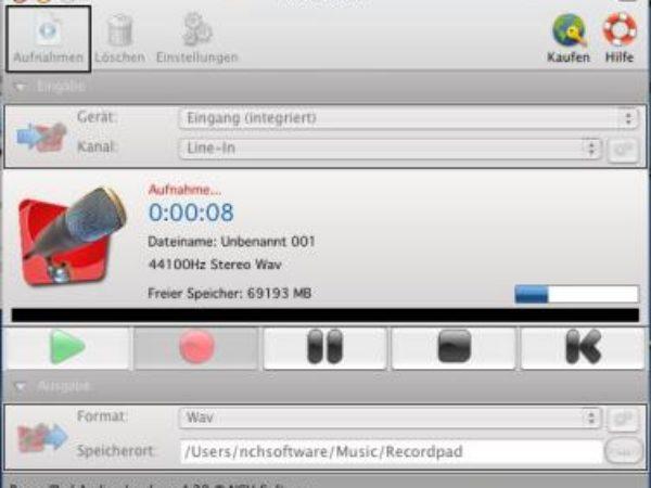 RecordPad Audio-Recorder für Mac