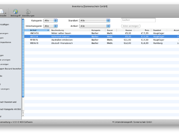 Inventoria Mac Bestandssoftware 3.68