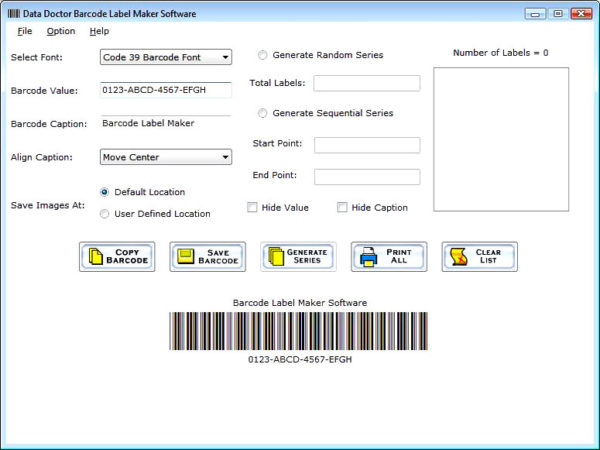 Create Barcode Label