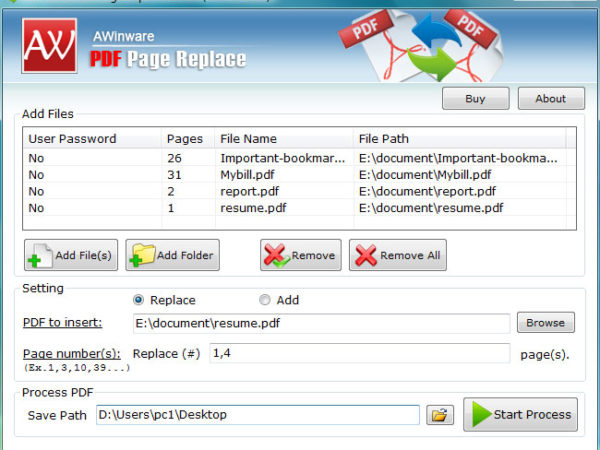 remove some pages from pdf
