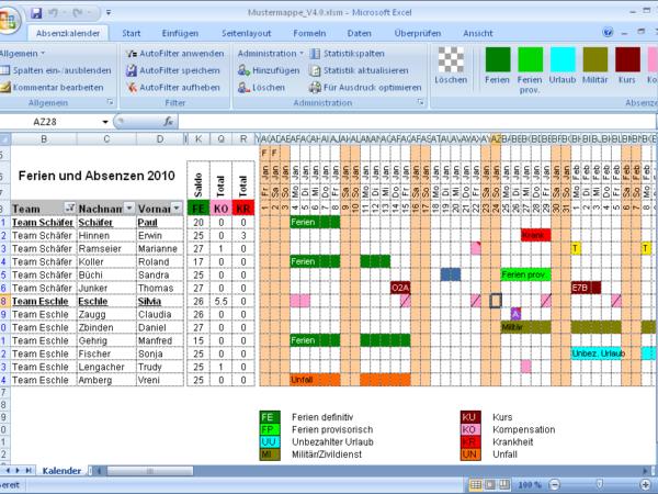 Excel Ferien- (Urlaub) und Absenzkalender