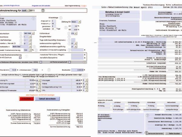 selbstrechnendes Formular zur Gehaltsabrechnung (PDF und Excel)