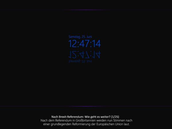 Uhrzeit und Nachrichten Screensaver